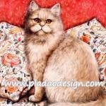 กระดาษสาพิมพ์ลาย สำหรับทำงาน เดคูพาจ Decoupage แนวภาพ แมวสีทรายอ่อนๆ ขนฟู ตัวใหญ่อยุ่บนเบาะลายดอก A5
