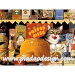 กระดาษสาพิมพ์ลาย สำหรับทำงาน เดคูพาจ Decoupage แนวภาำพ เจ้าแมวจอมยุ่งแลบลิ้นเลียปาก แอบกืนอาหารแมว ที่ทางเจ้าของเอามาวางขายในร้าน A5