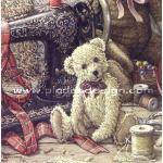 กระดาษสาพิมพ์ลาย สำหรับทำงาน เดคูพาจ Decoupage แนวภาพ หมีTeddy Bear ขนยาว สีอ่อน นั่งหน้าจักา น่ารักเด๊ A5