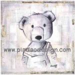 กระดาษสาพิมพ์ลาย สำหรับทำงาน เดคูพาจ Decoupage แนวภาพ ภาพวาดลายเส้นดินสอน้องหมีชุดเอี๊ยม A5