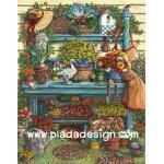 กระดาษสาพิมพ์ลาย สำหรับทำงาน เดคูพาจ Decoupage แนวภาำพ บ้านและสวน ชั้นวางดอกไม้ ไม้ดอกไม้ประดับ สีสันสดสวย กลางแจ้ง (ปลาดาวดีไซน์) A5