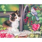 กระดาษสาพิมพ์ลาย สำหรับทำงาน เดคูพาจ Decoupage แนวภาำพ ลูกแมวขนยาว นั่งมองนกน้อยที่อยุ่บนต้นราสเบอร์รี่ A5