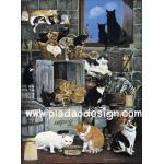 กระดาษสาพิมพ์ลาย สำหรับทำงาน เดคูพาจ Decoupage แนวภาพ ห้องเก็บของ แหล่งรวมตัว ประชุมลับของบรรดาน้องแมวแมว A5