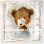 กระดาษสาพิมพ์ลาย สำหรับทำงาน เดคูพาจ Decoupage แนวภาพ น้องหมีขนยาวสีน้ำตาล นั่งทำหน้าน่ารักทักทาย ^^A5