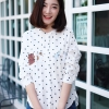 เสื้อเกาหลี พร้อมส่ง เสื้อญี่ปุ่น ปักน้องแมวน้องหนู