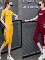 ชุดเซ็ท ชุดลำลอง ชุดสันทนาการกีฬา เสื้อคอกลมแขนสั้นเอวจั๊ม กางเกงขาจั๊ม4ส่วน มีหลายสีค่ะ